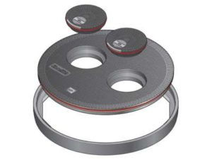 144 1 300x225 - Tapa redonda plana de 900 mm con junta y dos tapaderas. mod. FL90 MP