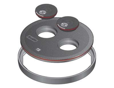 144 1 - Tapa redonda plana de 900 mm con junta y dos tapaderas. mod. FL90 MP