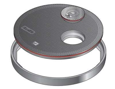 147 1 - Tapa redonda plana de 900 mm con junta y tapadera desplazada. mod. FL90 OF