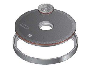 148 1 300x225 - Tapa redonda plana de 900 mm con junta y tapadera central. mod. FL90 CF