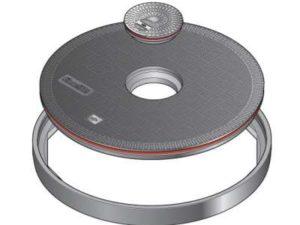 149 1 300x225 - Tapa redonda plana de 1020 mm con junta y tapadera central. mod. FL100 CF