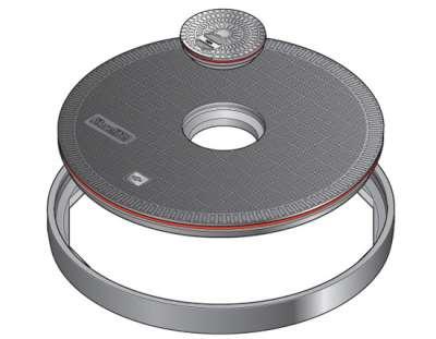149 1 - Tapa redonda plana de 1020 mm con junta y tapadera central. mod. FL100 CF