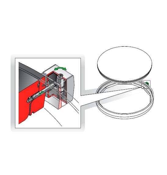 FIB90 L - Cerradura para tapas redondas. mod. FIB90-L