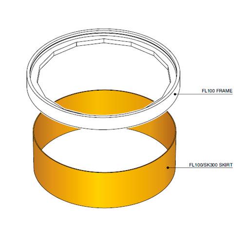 FL100 SK300 - Faldón de encofrado de 300 mm para tapa FL100. mod. FL100-SK300