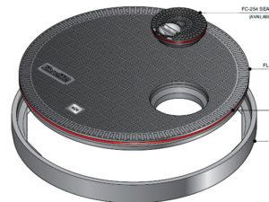 FL100 OF275 300x225 - Tapa redonda plana de 1020 mm con junta y tapadera desplazada mod. FL100-OF275