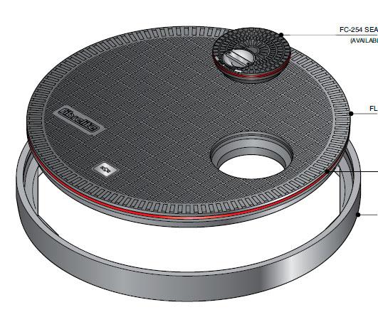 FL100 OF275 - Tapa redonda plana de 1020 mm con junta y tapadera desplazada mod. FL100-OF275