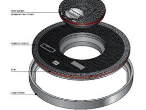 FL600 CD 300x225 - Tapa redonda plana de 610 mm con junta y tapadera central mod. FL600-CD