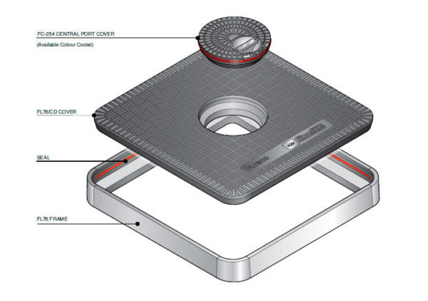 FL76 CD 600x422 - Tapa de arqueta de 760 mm con tapadera central mod. FL76-CD