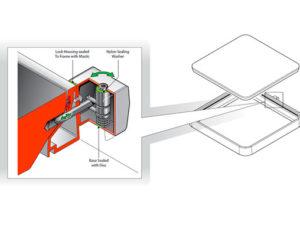 FIB76 L 300x225 - Cerradura para tapas cuadradas. mod. FIB76-L
