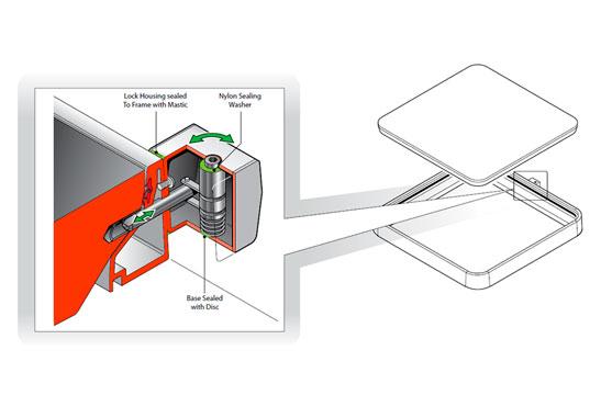 FIB76 L - Cerradura para tapas cuadradas. mod. FIB76-L