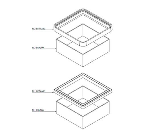 FL10 76 SK300 - Faldón de encofrado de 300 mm para tapas FL10 y FL76. mod. FL10/76-SK300