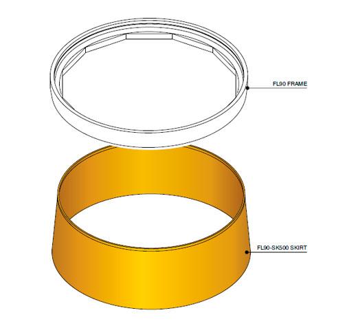 FL90 SK500 - Faldón de encofrado de 500 mm para tapa FL90. mod. FL90-SK500