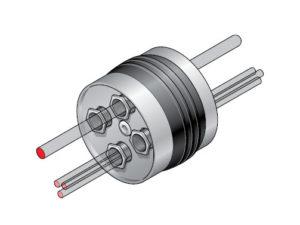 PCE 1 300x225 - Inserción para tubo rígido de 110 mm con prensaestopas para distintos cables. mod. PCE-1