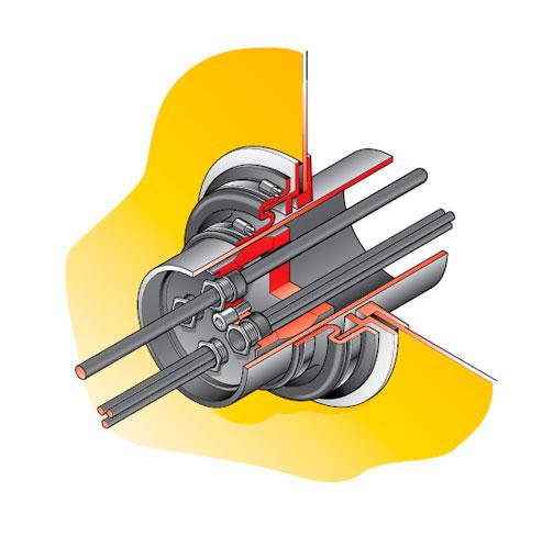 PCE 1 KIT - Pasamuro con inserción para tubo rígido de 110 mm con prensaestopas para distintos cables. mod. PCE 1-KIT