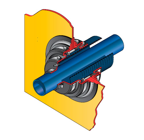Pasamuro doble para tubería corrugada de 115 mm exterior y cierre a 50 mm. mod. PDBD 115-50
