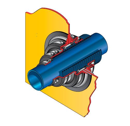 PDBD 115 63 - Pasamuro doble para tubería corrugada de 115 mm exterior y cierre a 63 mm. mod. PDBD 115-63