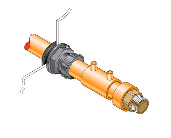 PEC 25 600x484 - Pasamuro simple para tubería metálica de 25 mm exterior. mod. PEC 25
