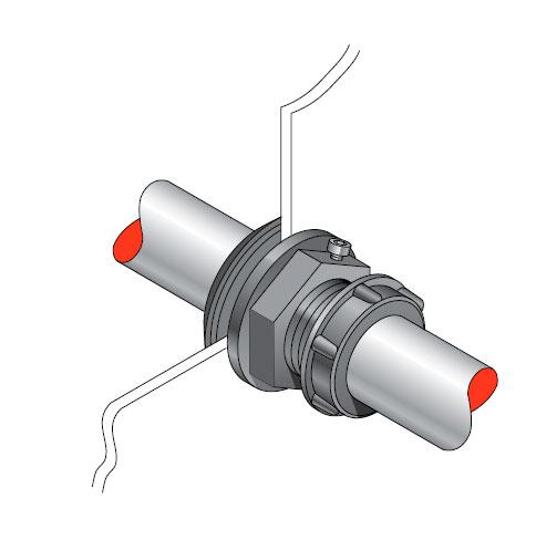 PEC 27 - Pasamuro simple para tubería metálica de 27 mm exterior. mod. PEC 27