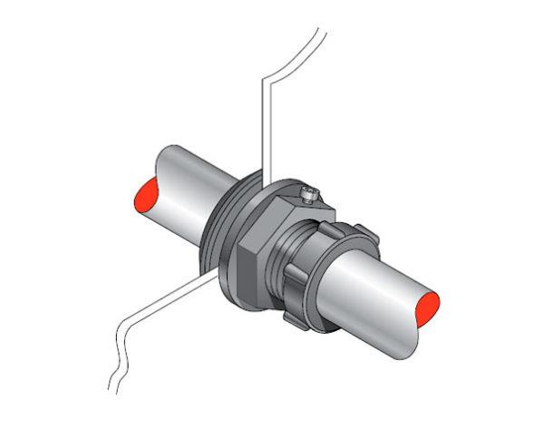 PEC 33 600x484 - Pasamuro simple para tubería metálica de 33 mm exterior. mod. PEC 33