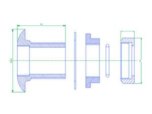 PEC 50 300x225 - Pasamuro simple para tubería metálica de 50 mm exterior. mod. PEC 50