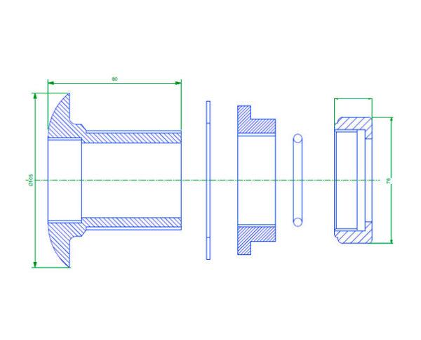PEC 50 600x484 - Pasamuro simple para tubería metálica de 50 mm exterior. mod. PEC 50