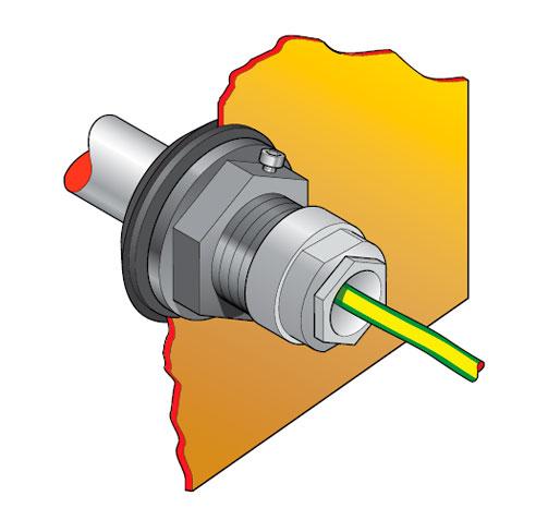 """PEC2 33 - Pasamuro para tubo de acero de 1"""" con prensaestopa para 1 ó 3 cables. mod. PEC2-33"""