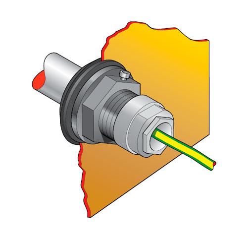"""PEC2 50 - Pasamuro para tubo de acero de 11/2"""" con prensaestopa para 1 ó 3 cables. mod. PEC2-50"""