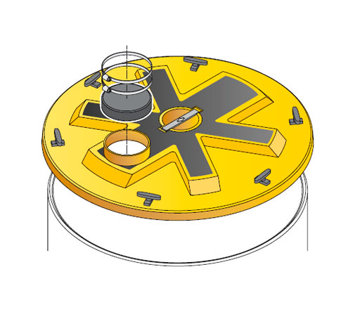 S S LID ROUND WT OD - Tapadera con cierre estanco y agujero desplazado para cuello de arqueta de 900 mm. mod. S-S-LID-ROUND-WT-OD