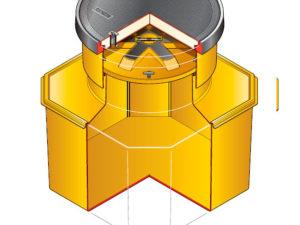 S12SB 390 WT 300x225 - Arqueta octogonal de 1200 x 1200 mm y altura ajustable de 750 mm con plataforma. mod. S12SB-390 WT