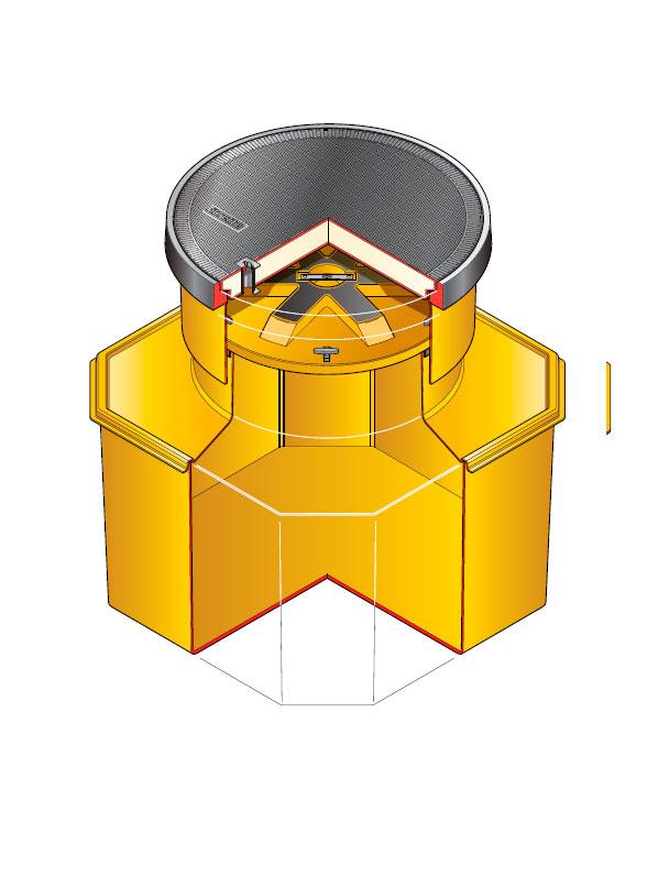 S12SB 390 WT - Arqueta octogonal de 1200 x 1200 mm y altura ajustable de 750 mm con plataforma. mod. S12SB-390 WT
