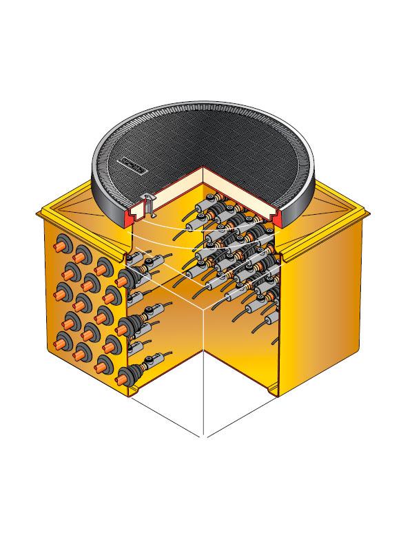 S80 2760 - Arqueta cuadrada de 862x 8620 mm y altura fija de 675 mm. mod. S80-2760