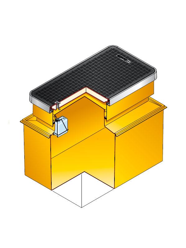 S9D 3140 - Arqueta rectangular de 1470 x 990 mm y altura ajustable de 900 mm. mod. S9D-3140