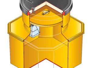 s12sb 390 300x225 - Arqueta octogonal de 1200 x 1200 mm y altura ajustable de 750 mm. mod. S12SB-390