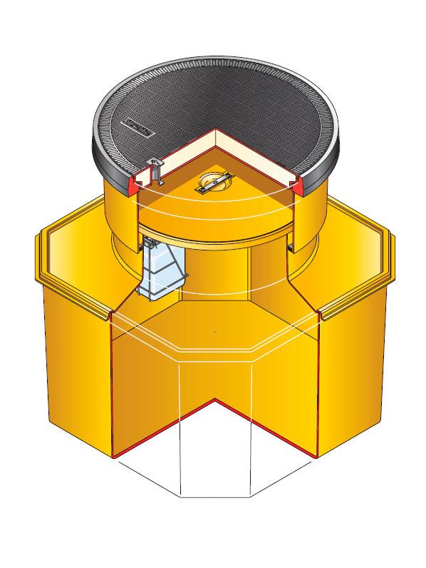 s12sb 390 - Arqueta octogonal de 1200 x 1200 mm y altura ajustable de 750 mm. mod. S12SB-390