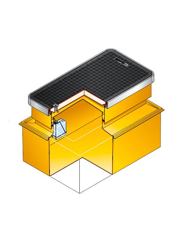 s9 3140 - Arqueta rectangular de 1470 x 990 mm y altura ajustable de 600 mm. mod. S9-3140