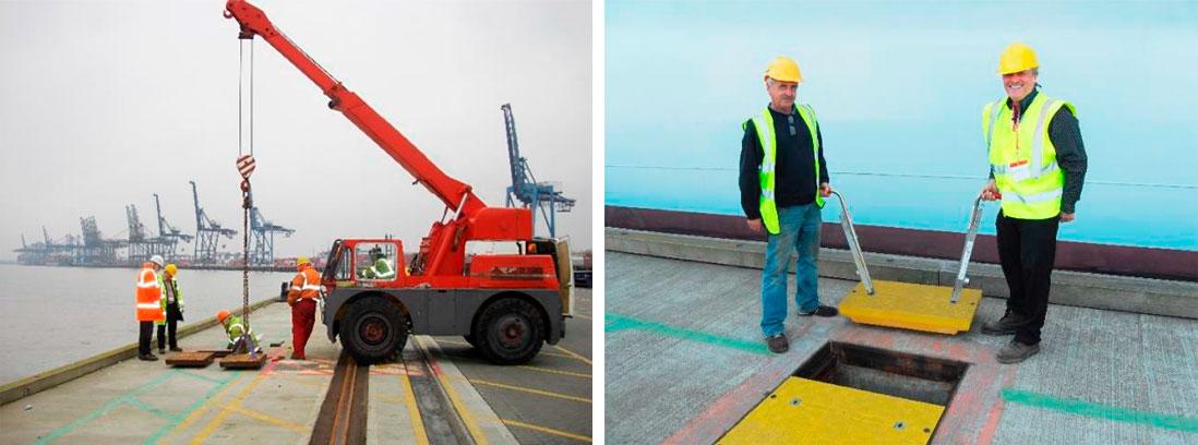 Puerto de Felixstowe, Reino Unido, antes y después de la instalación de tapas paneladas de composite